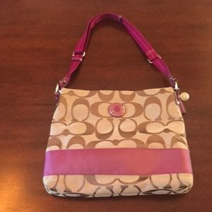 Brown and pink canvas Coach Crossbody bag